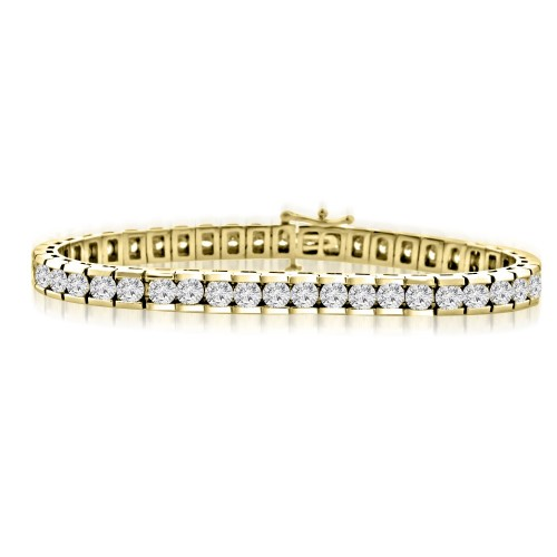 10.15 ct Ladies Round Cut Diamond Tennis Bracelet In Channel Setting Yellow Gold
