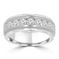 0.70 ct Men's Round Cut Diamond Wedding Band Ring in Channel Setting