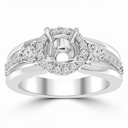 0.45 ct Ladies Round Cut Diamond Semi Mounting Engagement Ring in 14 kt White Gold