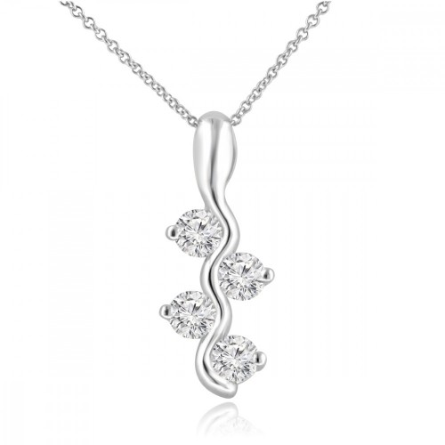 0.65 Ct Ladies Round Cut Diamond Pendant / Necklace In 14 kt White Gold