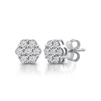 2.00 ct Flower Set Round Cut Cubic Zirconia Stud Earrings in Push Back