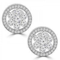 1.68 ct Round Cut Cubic Zirconia Stud Earrings in Screw Back