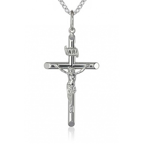 Crucifix Cross Pendant Necklace in 925 kt Sterling Silver with 16 inch Link Chain