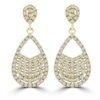 2.08 ct ttw Ladies Round Cut Diamond Drop Dangling Earrings In 14 Kt Yellow Gold