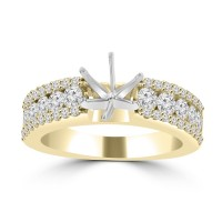 1.09 ct Ladies Three Row Round Cut Diamond Semi Mounting Ring in 14 kt Yellow Gold
