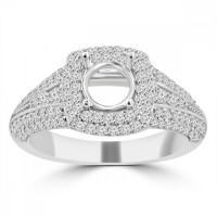 1.27 ct Ladies Round Cut Diamond Semi Mounting Engagement Ring in 14 kt White Gold