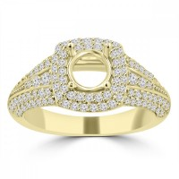 1.27 ct Ladies Round Cut Diamond Semi Mounting Engagement Ring in 14 kt Yellow Gold