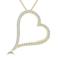 1.39 ct Round Cut Diamond Heart Shape Pendant Necklace (G Color SI-1 Clarity) in 14 kt Yellow Gold