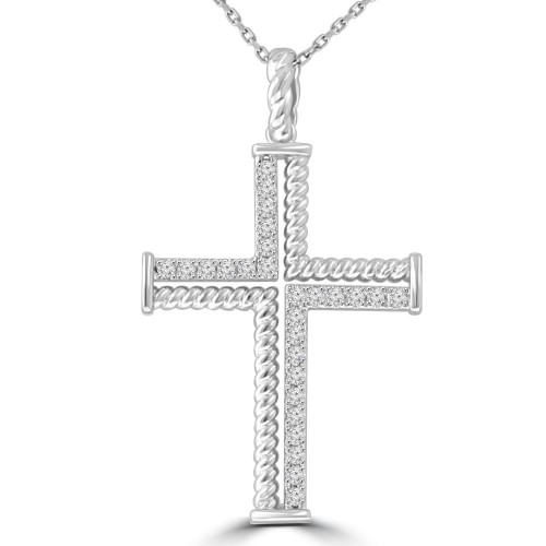 0.37 ct Ladies Round Cut Diamond Cross Pendant Necklace (G Color SI-1 Clarity) in 14 kt White Gold