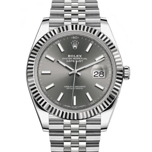 Rolex Datejust 41 Stainless Steel Rhodium Diamond Dial Jubilee Bracelet Watch