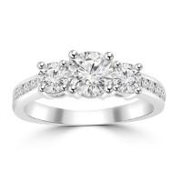 1.97 ct Ladies Three Stone Round Cut Diamond Engagement Ring in 14 kt White Gold