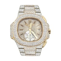 PATEK PHILIPPE NAUTILUS ICED OUT DIAMOND WATCH FOR MEN 35CT 18K ROSE GOLD
