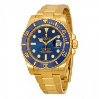 Submariner Blue Dial 18K Yellow Gold Oyster Bracelet Automatic Men's Watch
