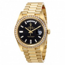 Oyster Perpetual Day-Date Black Dial Automatic Men's 18 Carat Yellow Gold President Watch