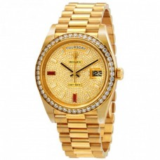 Day-Date 40 Automatic Gold Diamond Pave Dial Men's 18kt Yellow Gold President Watch