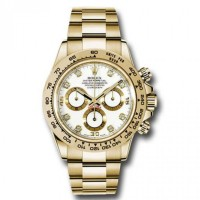 Rolex Cosmograph Daytona White Dial with Diamonds 18kt Yellow Gold Oyster bracelet Men's Watch 116508 wd