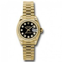 Datejust Lady - Gold President Yellow Gold - Fluted Bezel - President