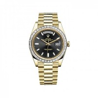 Day-Date 40 228398TBR Gold Watch (Black Set with Diamonds)