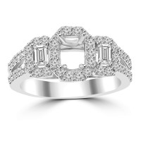 1.01 ct Ladies Round and Baguette Cut Diamond Semi Mounting Engagement Ring in 14 kt White Gold