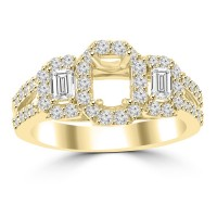 1.01 ct Ladies Round and Baguette Cut Diamond Semi Mounting Engagement Ring in 14 kt Yellow Gold