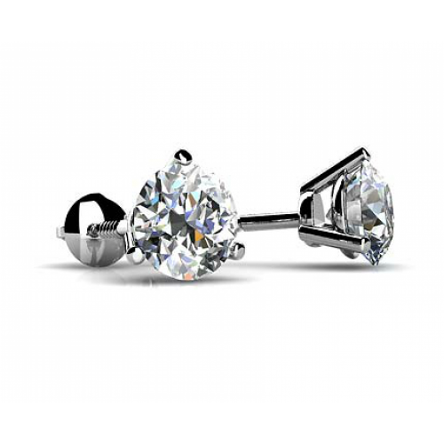 1.00 ct Round Cut Diamond Martini Setting Stud Earrings in Screw Back