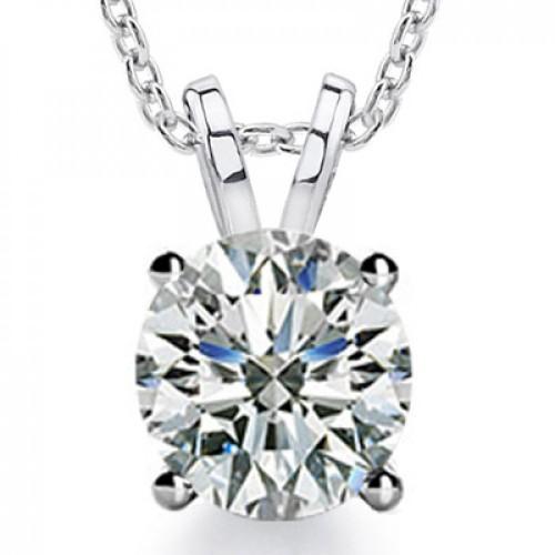 0.80 Ct Ladies Round Cut Diamond Solitaire Pendant Necklace