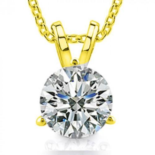 0.65 Ct Ladies Round Cut Diamond Solitaire Pendant / Necklace