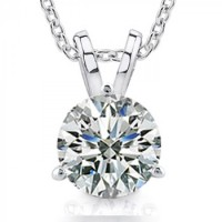 1.00 Ct Ladies Round Cut Diamond Solitaire Pendant Necklace