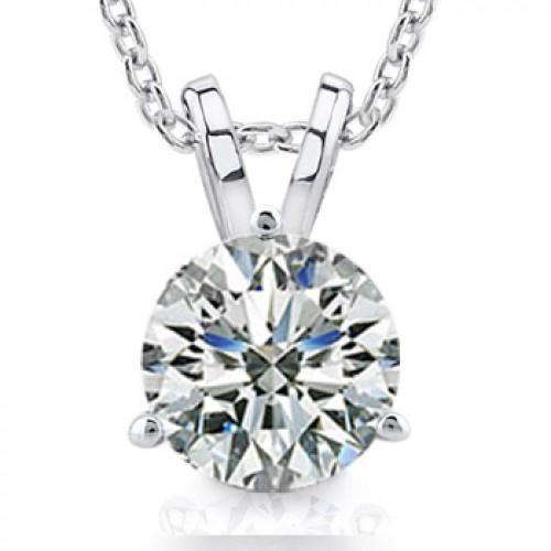 1.00 Ct Ladies Round Cut Diamond Solitaire Pendant Necklace