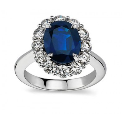 Madina Jewelry 7.28 ct Oval Shape Sapphire And Diamond Engagement Ring in 950 kt Platinum at Sears.com