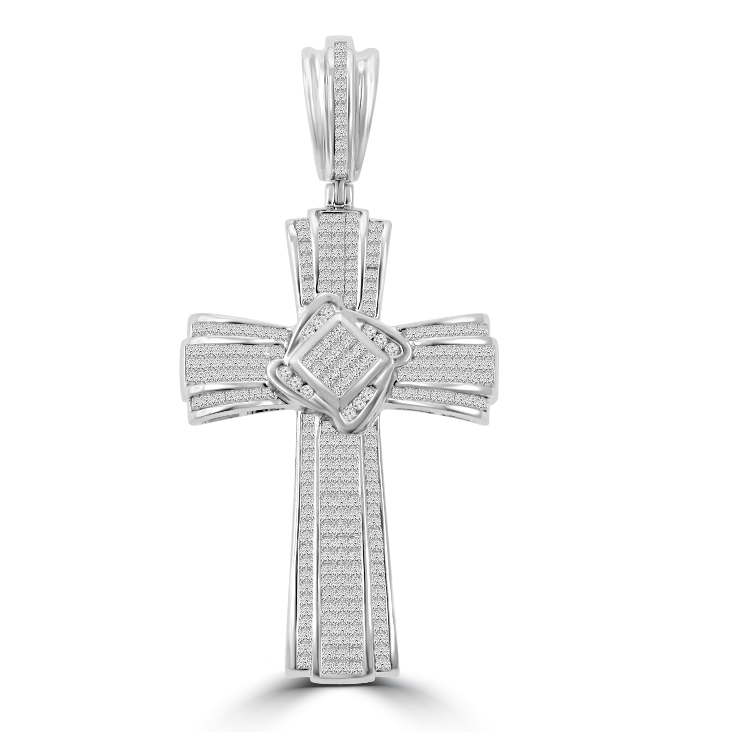 Details About 525 Ct Tw Men's Princess Cut Invisible Set Diamond Cross Pendant: Wedding Band With Cross Pendant At Websimilar.org